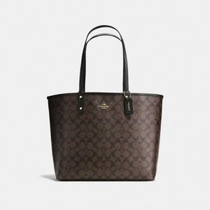 New Coach Reversible City Tote in Signature Canvas